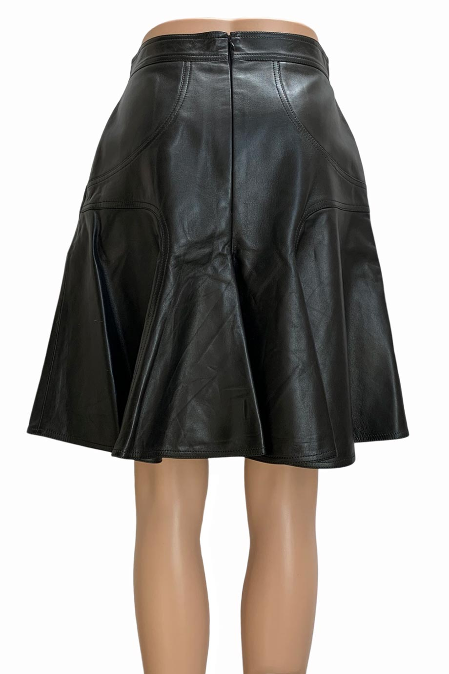 Andrew Gn Solid Black Leather A-Line Flared Skirt / Sz 42