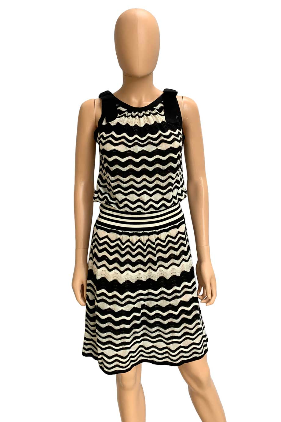 M Missoni Black + White Zig Zag Sleeveless Knit Dress / Sz 8