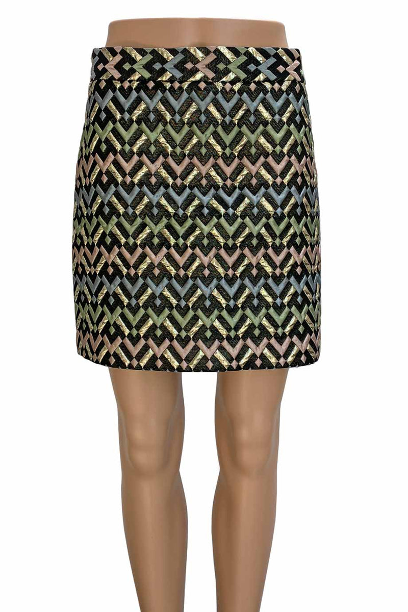 Milly Metallic Chevron Brocade A-Line Modern Mini Skirt / Sz 6