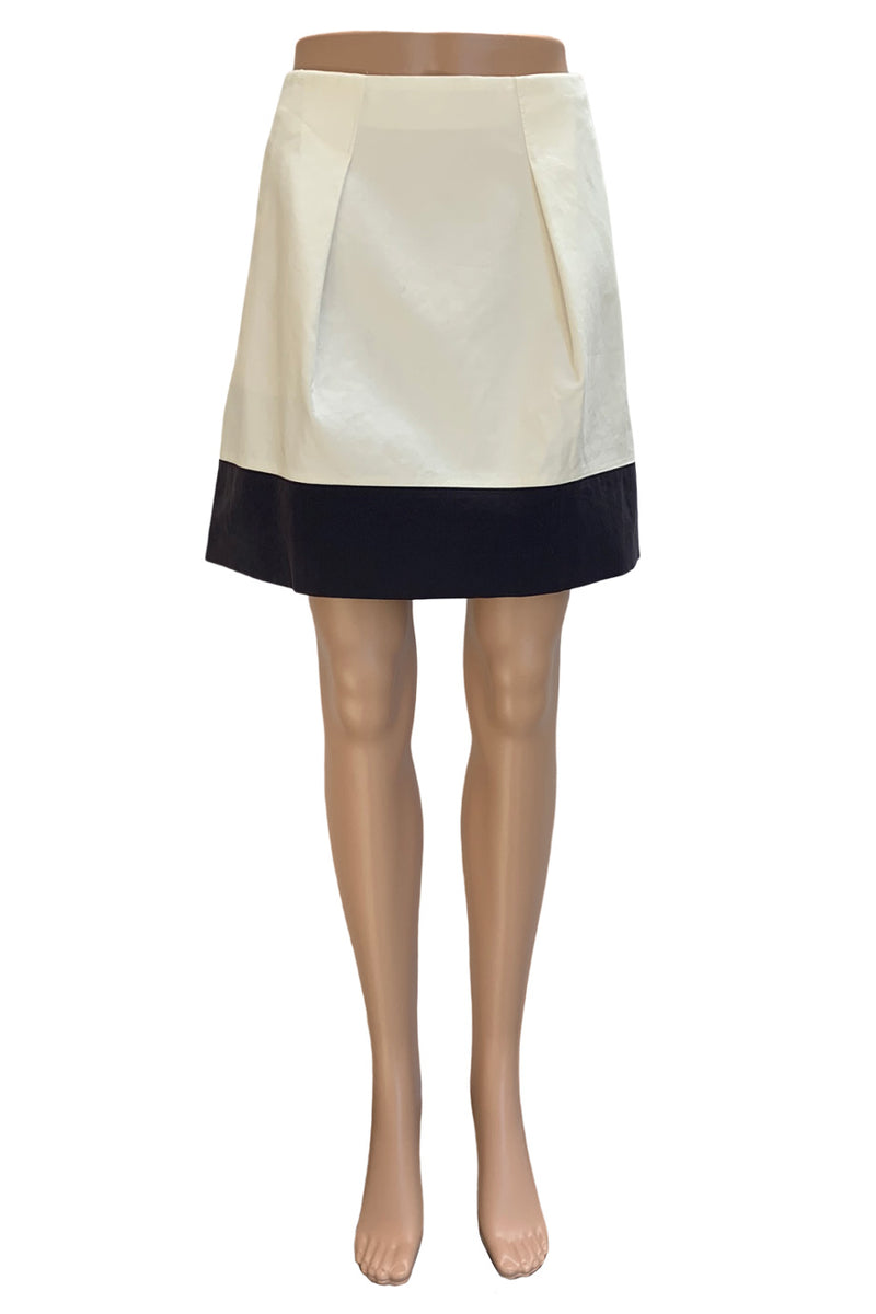 J. Crew Ivory + Black Cotton Colorblocked Flare Mini Skirt / Sz 6