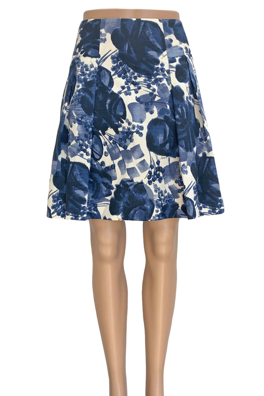 Milly Navy Blue Floral Print Cotton Pleated A-Line Skirt / Sz 6