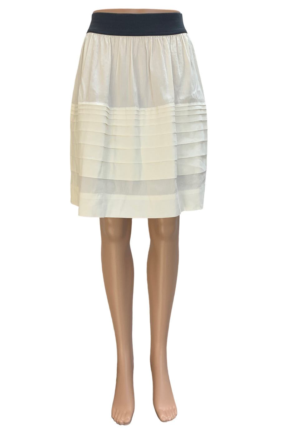 "Theory Ivory Linen-Blend Tiered ""Zelai"" Knee-Length Skirt / Sz S"