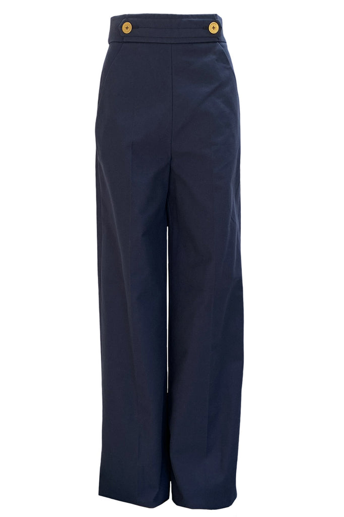 Yves Saint Laurent Navy Blue Cotton Nautical Wide Leg Pants / Sz 36