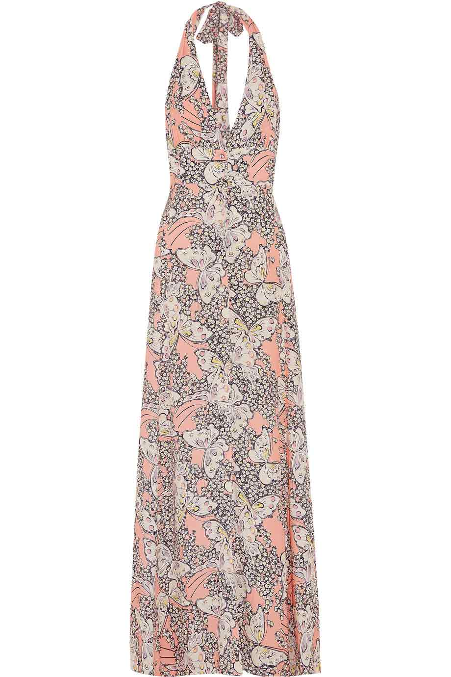 Paul & Joe Pink Multi Floral + Butterfly Print Halter Maxi Dress / Sz 38-Style Therapy