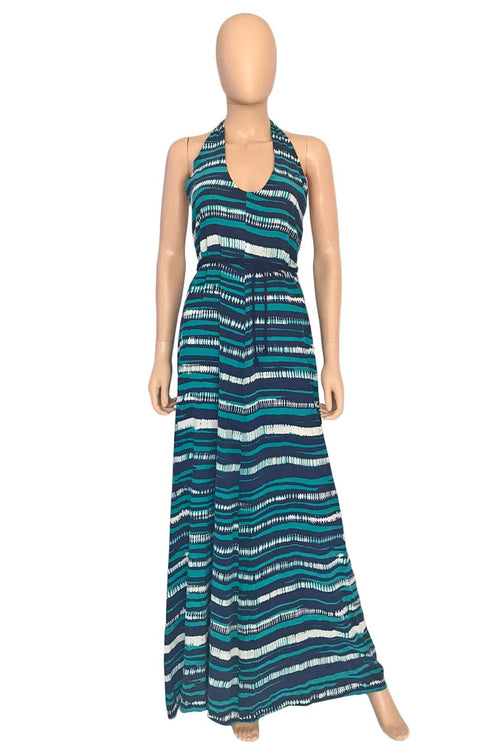 Gryphon Navy +Teal Multi Stripe Silk Halter Maxi Dress / Sz s