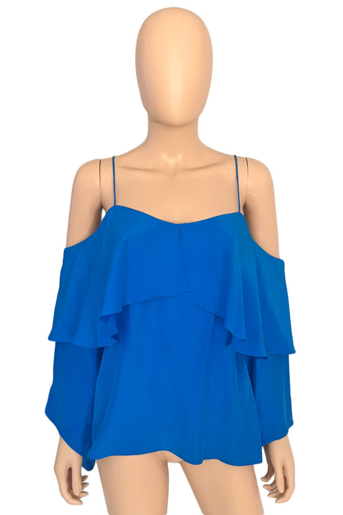 Jay Godfrey Bright Blue Long Sleeve Cold Shoulder Garcia Top / Sz 4