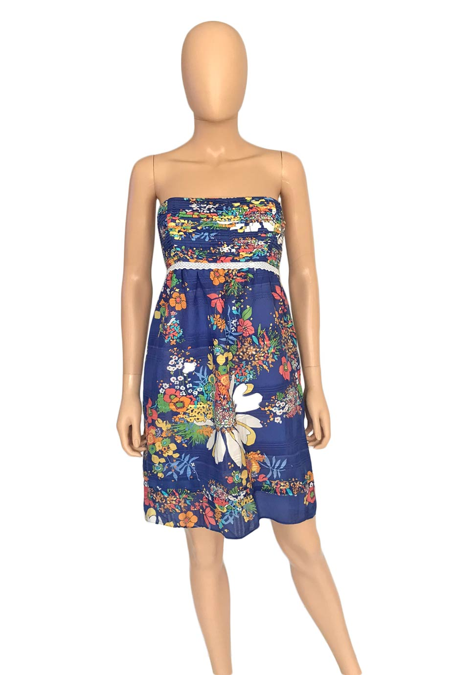 Shoshanna Blue Multi Floral Print Cotton Strapless Dress / Sz 6-Style Therapy