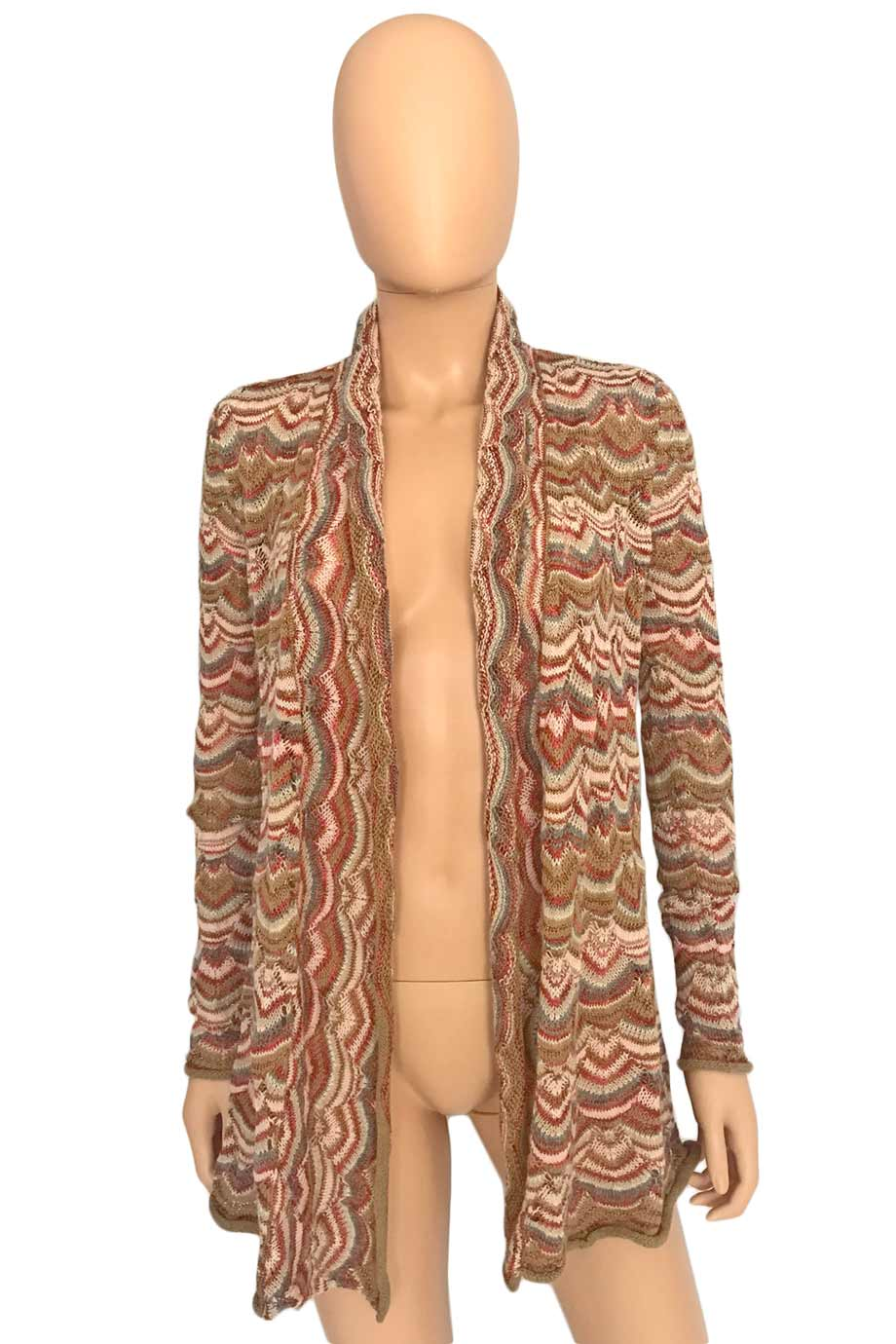 Calypso St Barth Pink + Beige Multi Stripe Cardigan Sweater / Sz XS-Style Therapy