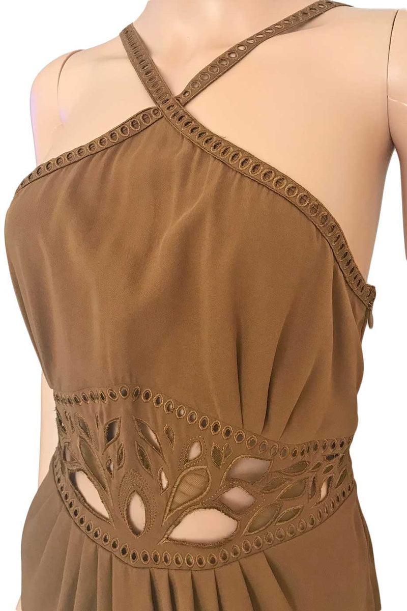 Catherine Malandrino Brown Silk Cut Out Halter Dress / Sz 6-Style Therapy