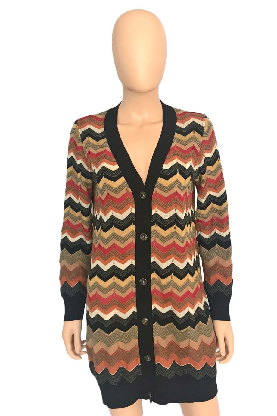 Missoni Multi-Color Zigzag Wool-Blend Cardigan Sweater / Sz 6-Style Therapy