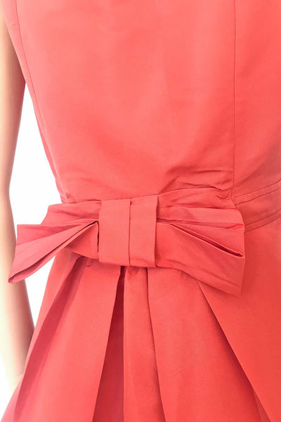 Red Valentino Coral Faille Bow Back Tank Dress / Sz 44