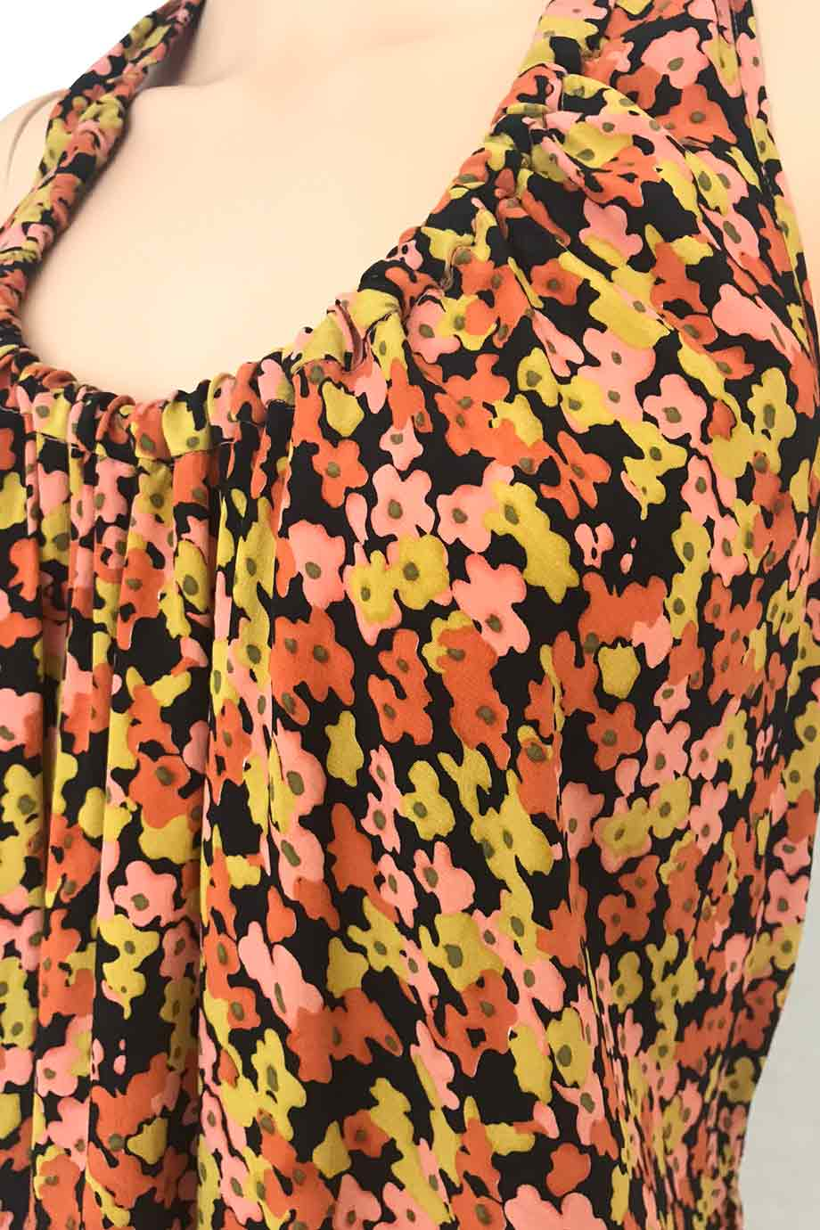 Theory Black Multi Color Floral Silk Print Sleeveless Top / Sz S-Style Therapy