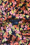 Theory Black Multi Color Floral Silk Print Sleeveless Top / Sz S