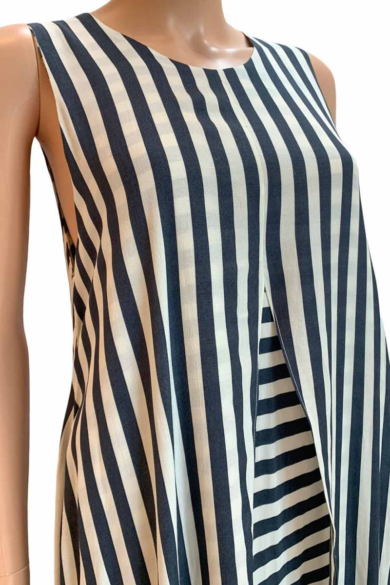 "Kaelen Navy + White Stripe A-Line ""Petal"" Summer Midi Dress / Sz 6"