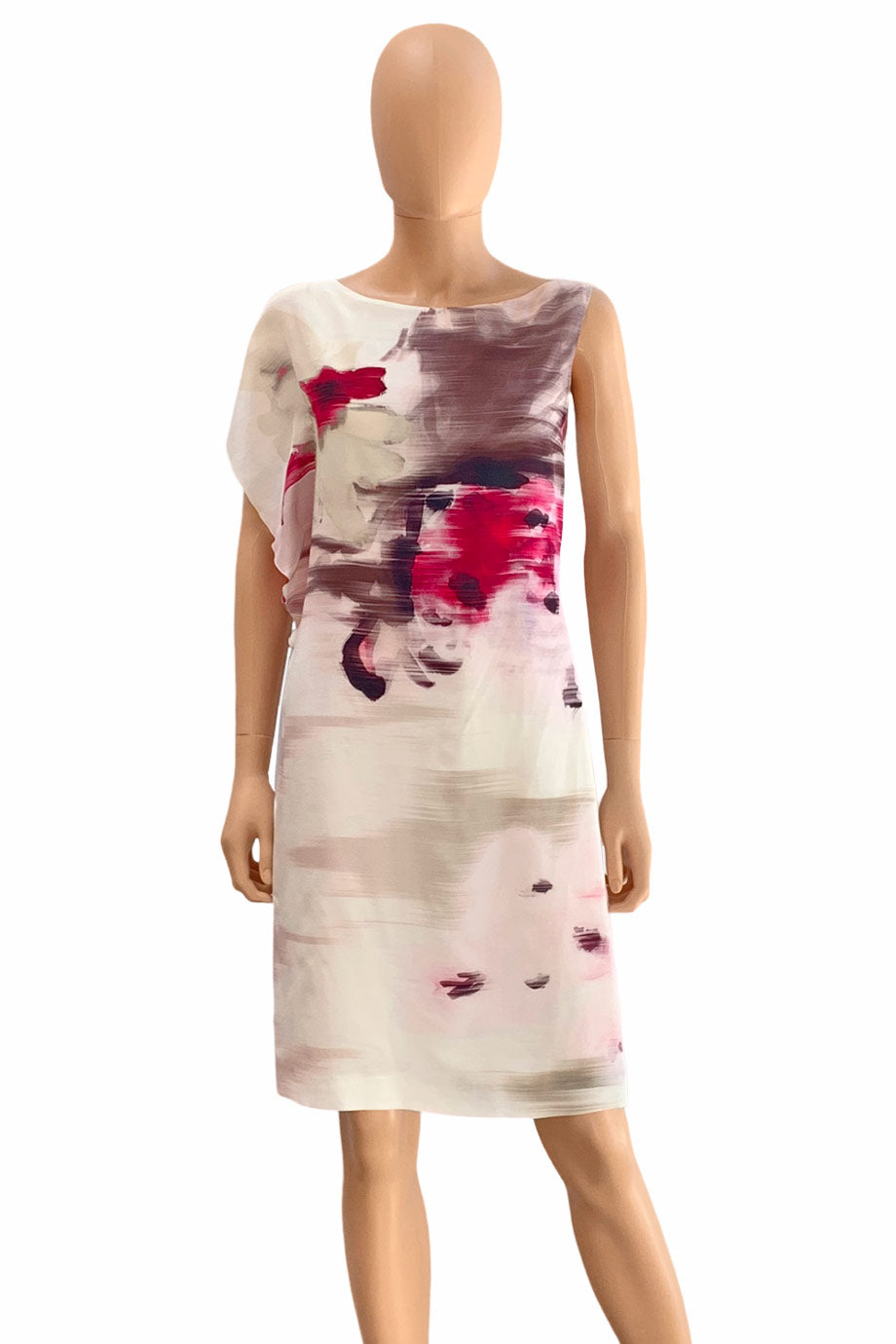 Piazza Sempione Pink Multi Abstract Floral Print Silk Shift Dress / Sz 40