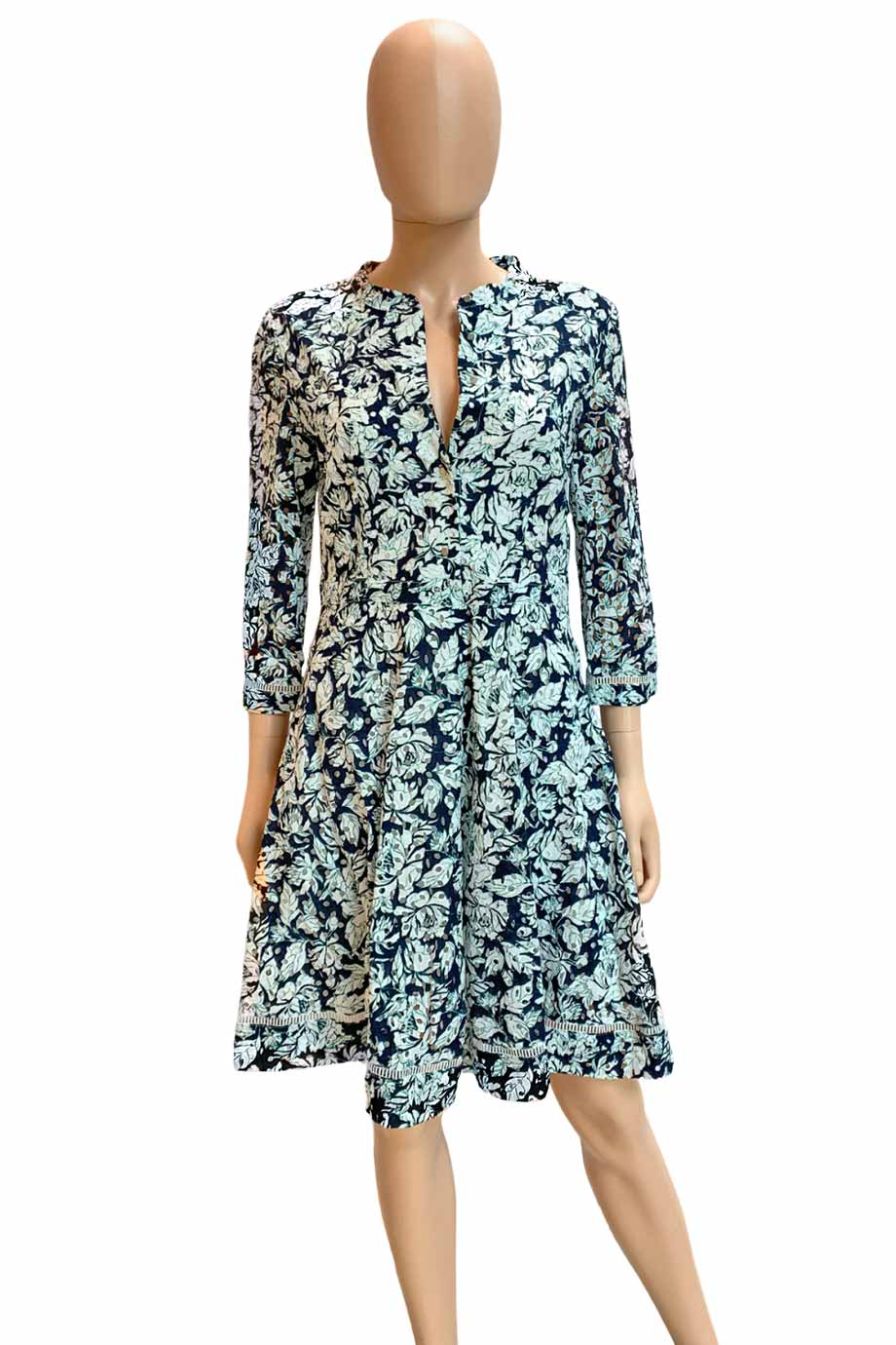 Suncoo Navy Multi Floral Print Cotton Eyelet Mini Dress / Sz T2