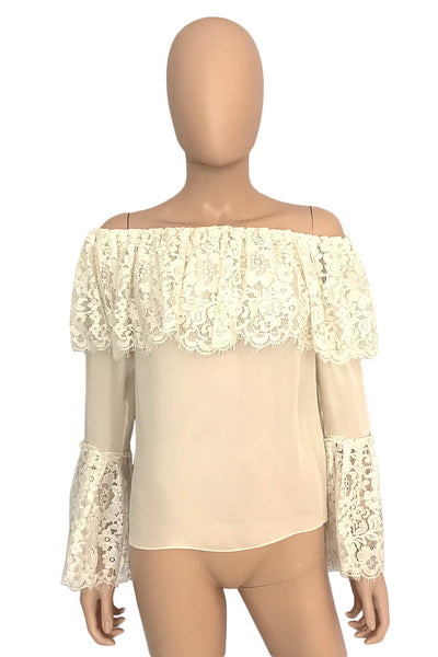 Rachel Zoe Lace Ruffled Off-Shoulder Krystal Blouse / Sz 4