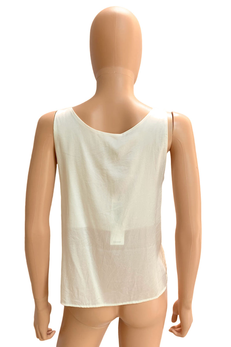 Aviu Ivory Silk Blend Charmeuse V-Neck Sleeveless Tank Top / Sz 42