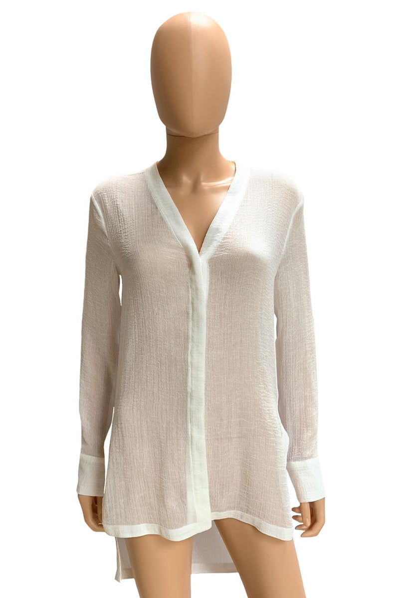 Helmut Lang White Crinkled Gauze High-Low Blouse / Sz S