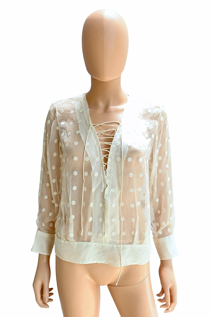 IRO Sheer Ecru Embroidered Oltane Lace-Up Tie Blouse / Sz 38