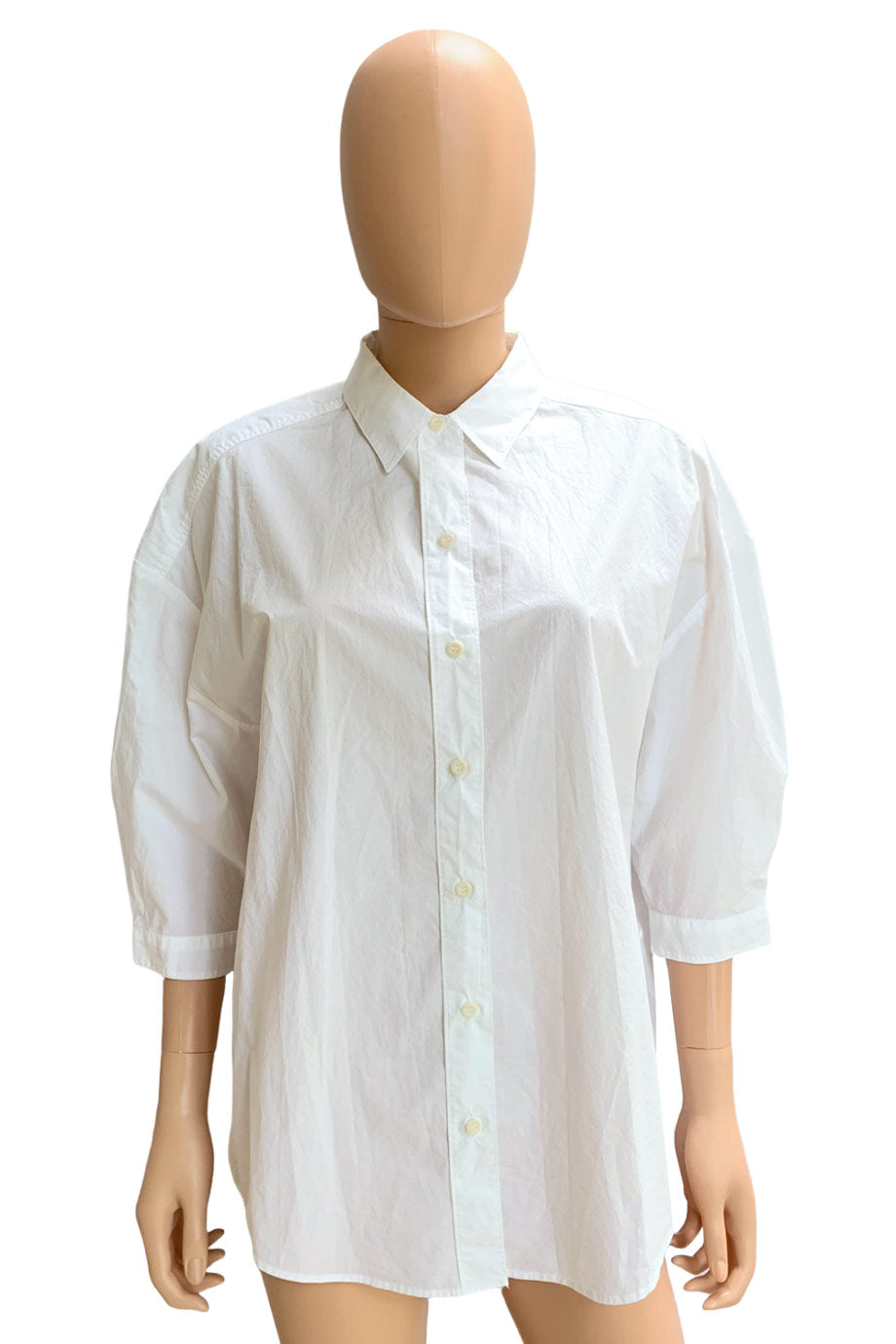 M.i.H Jeans Oversized White Cotton 3/4 Sleeve Button-Up Shirt / Sz S