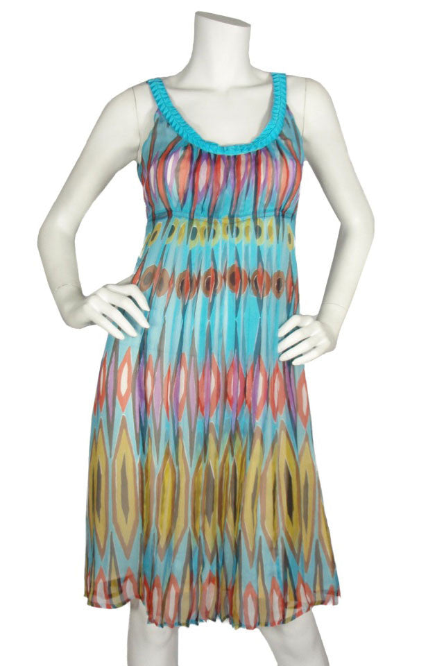 Tory Burch Turquoise Global Print Chiffon Dress / Sz 2 - Style Therapy  - 1