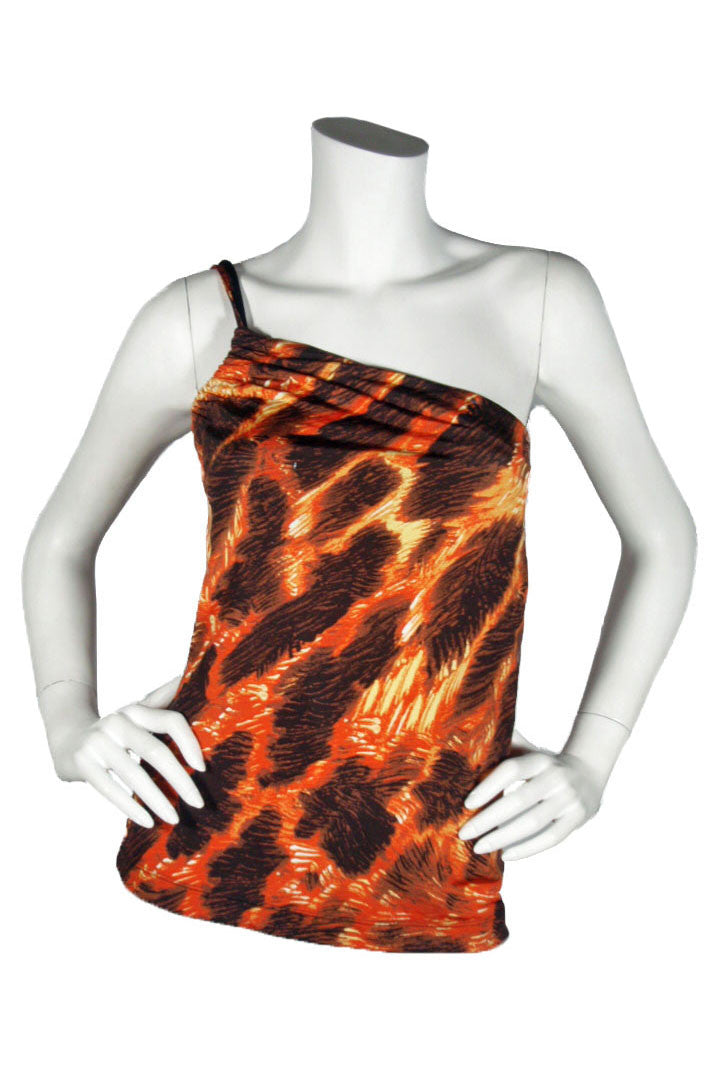 Just Cavalli by Roberton Cavalli Orange & Brown One-Shoulder Top / Sz S - Style Therapy  - 1