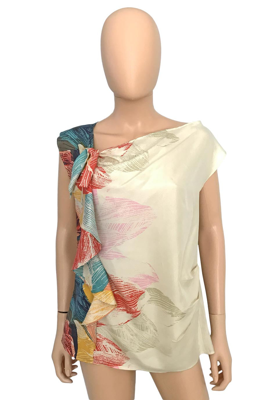 Hype Multi Color Leaf Print Sleeveless Silk Ruffle Top / Sz 2-Style Therapy