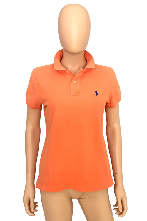 Ralph Lauren Skinny Fit Orange Mesh Knit Polo Shirt / Sz L