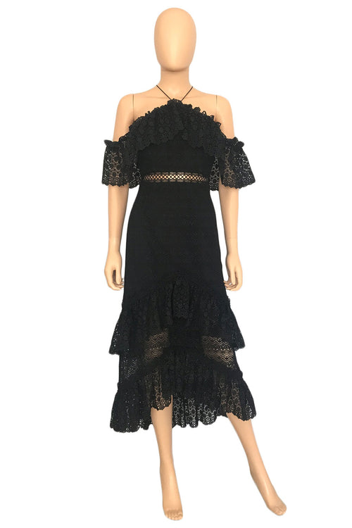AMUR Black Lace Cold Shoulder Halter Valentina Midi Dress / Sz 4