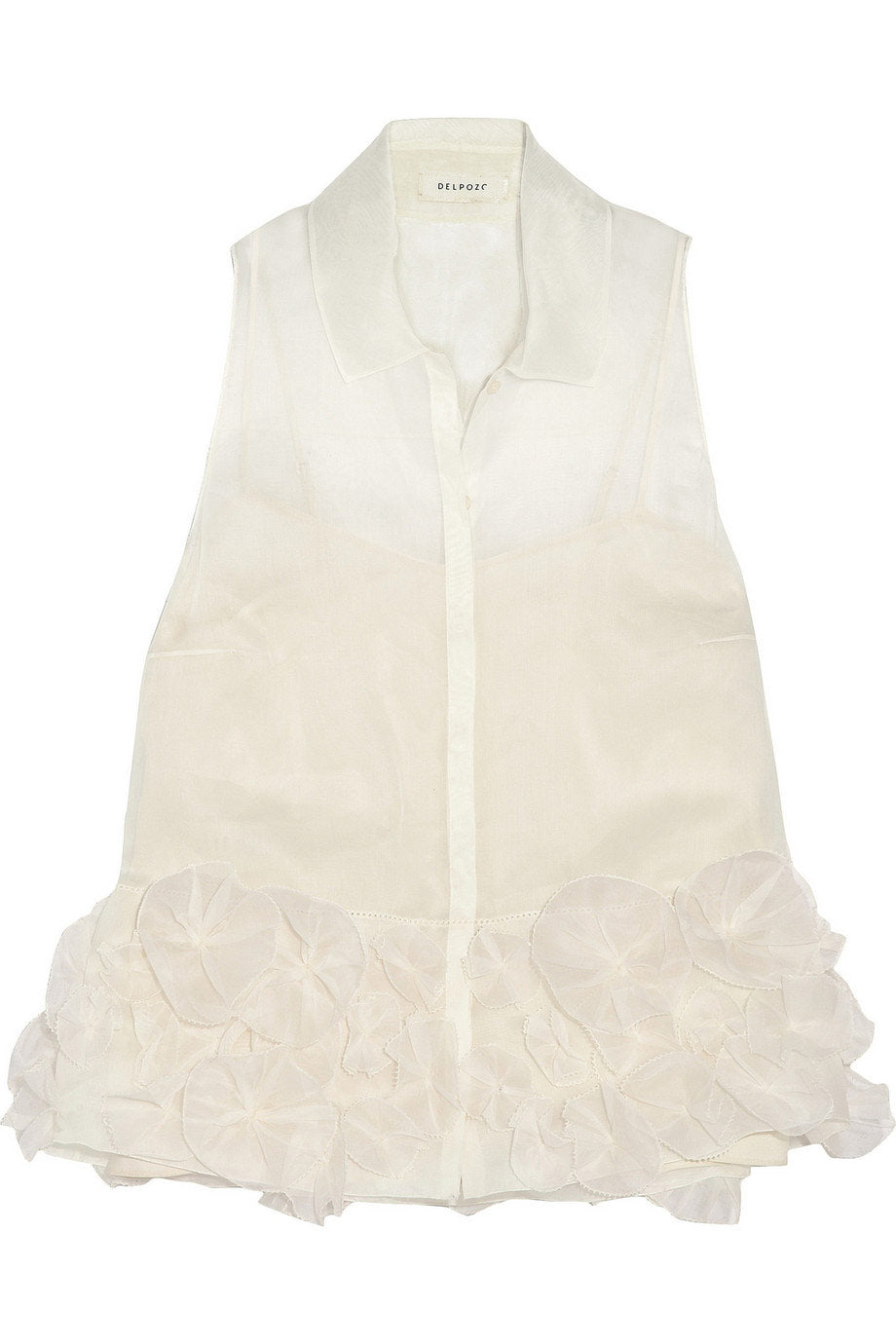Delpozo Floral Applique Cream Organdy Sleeveless Blouse / Sz 38