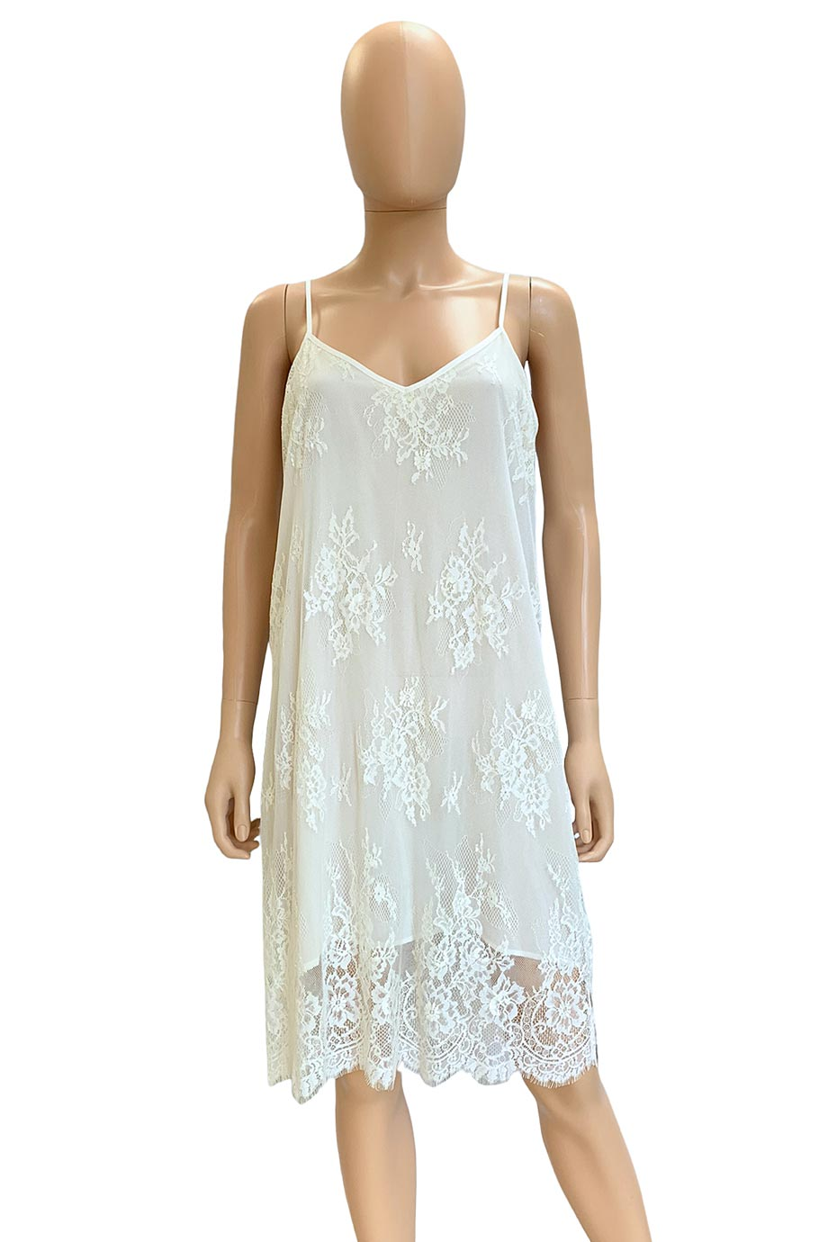 Falcon & Bloom Off-White Lace Slip Dress / Sz S