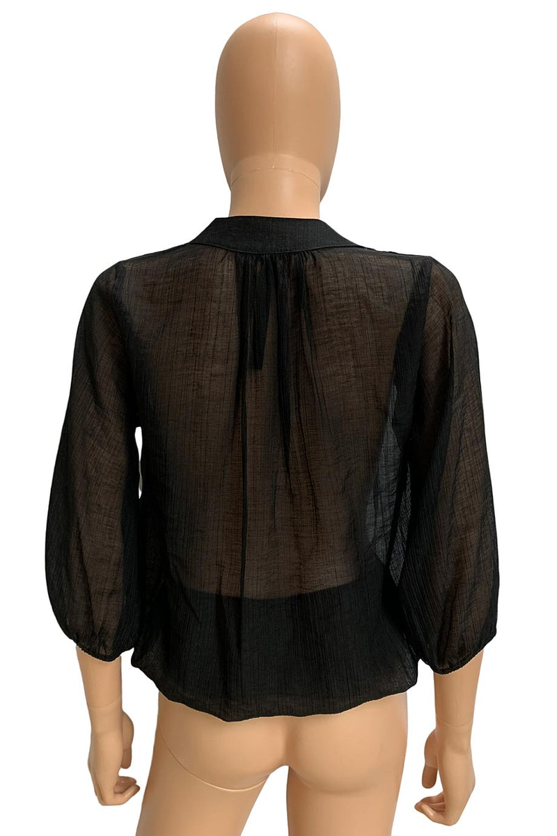 Renee C. Sheer Black Crinkled Split V-Neck 3/4 Sleeve Blouse / Sz S