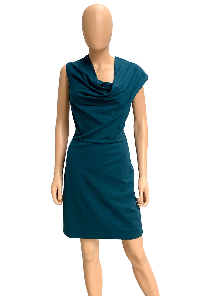 Escada Teal Knit Asymmetric Cowl Neck Sleeveless Dress / Sz 36