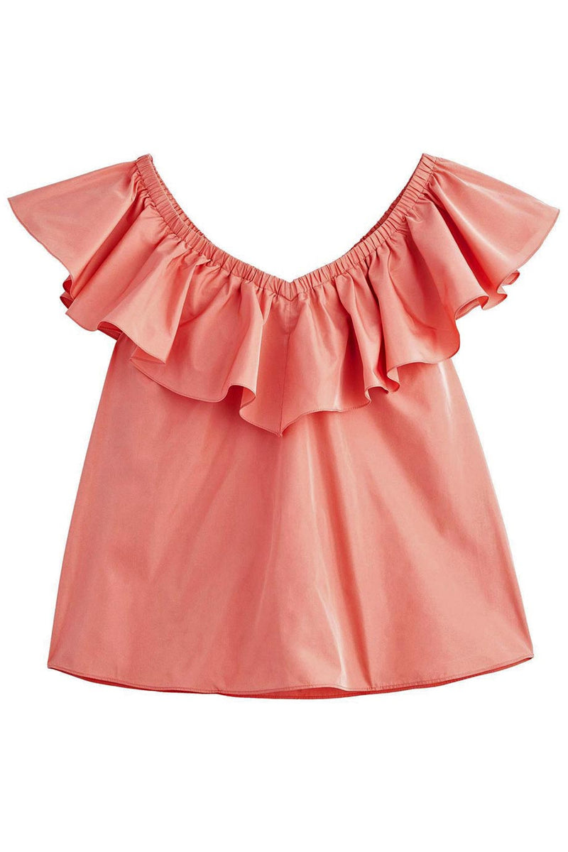 Rebecca Taylor Pink Taffeta Ruffled Off The Shoulder Top / Sz 6