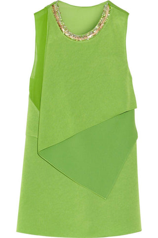 3.1 Phillip Lim Embellished Green Crepe + Silk Top / Sz 2