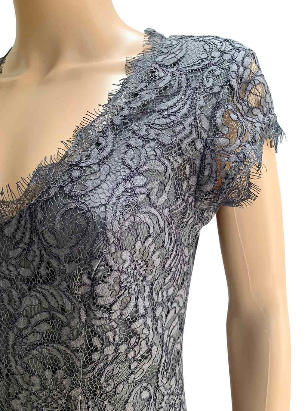 Joie Gray Lace Eshe Fit & Flare V-Neck Cocktail Dress / Sz 4