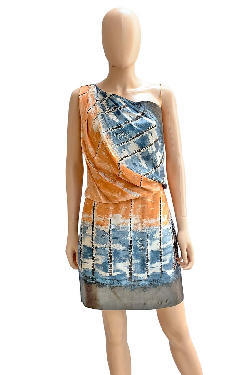 Robert Rodriguez Silk Print One-Shoulder Cocktail Dress / Sz 4