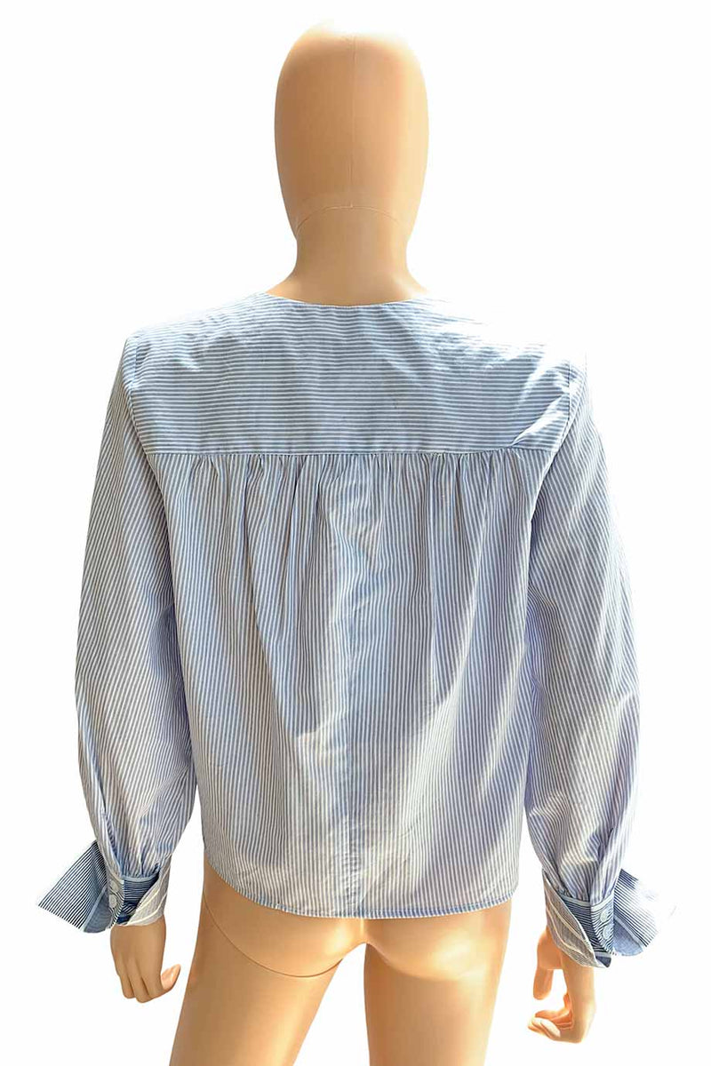 Sea NY Blue Striped Cotton Long Sleeve V-Neck Blouse / Sz 4