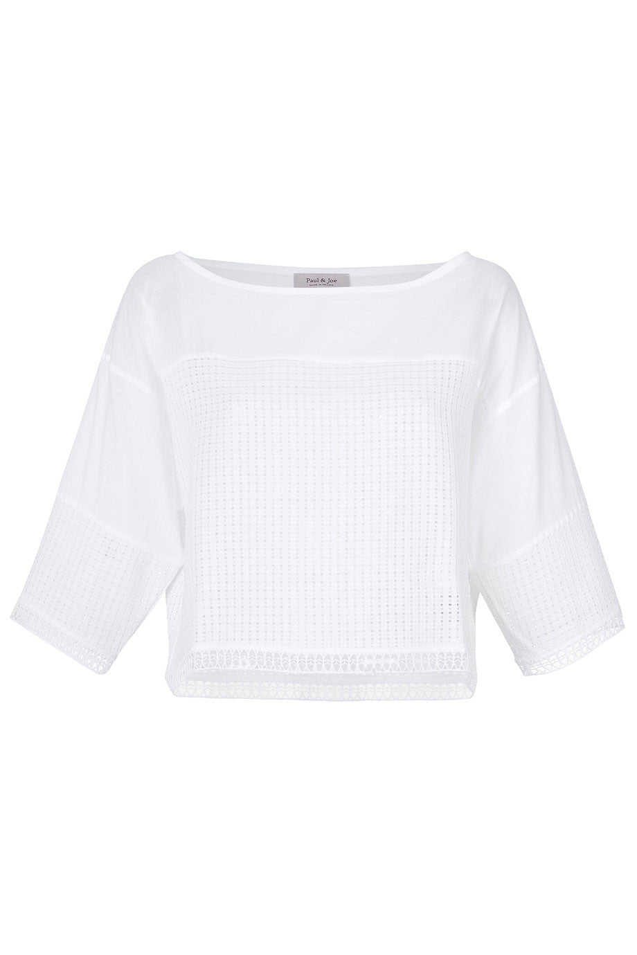Paul & Joe Cropped White Cotton Mesh 3/4 Sleeve Top / Sz 1 - Style Therapy  - 1