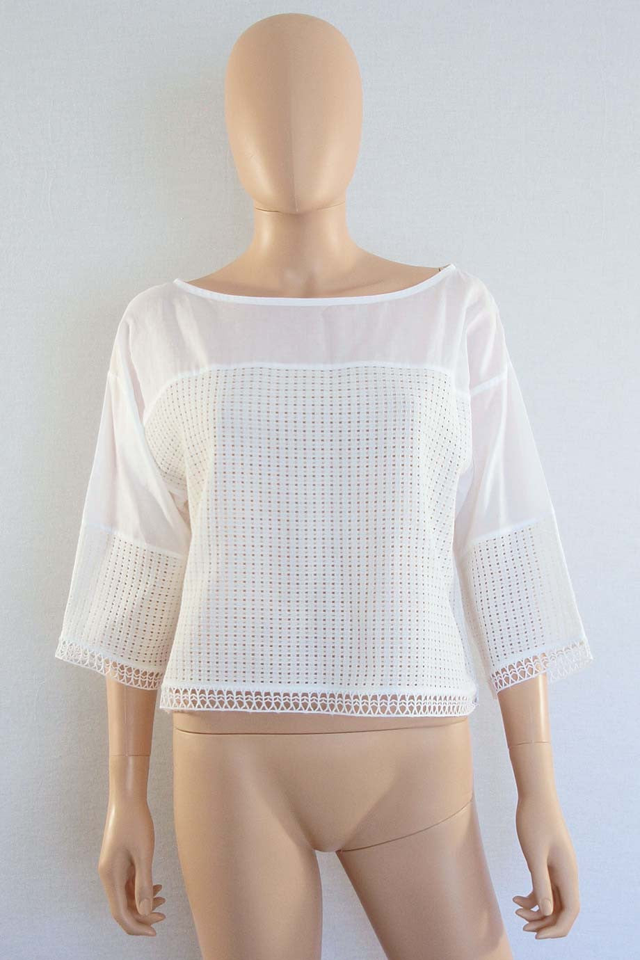 Paul & Joe Cropped White Cotton Mesh 3/4 Sleeve Top / Sz 1 - Style Therapy  - 2