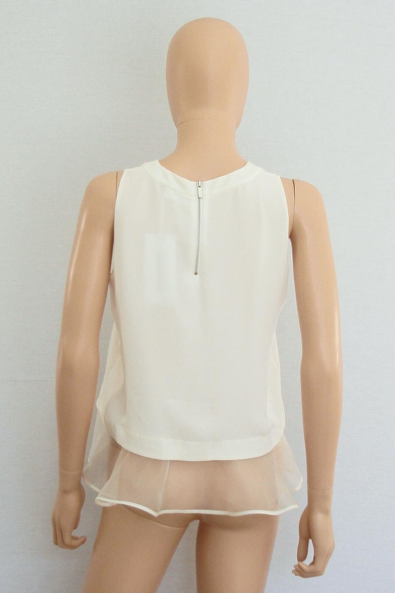 Elizabeth and James Ivory Sleeveless Ruffle Hem Tierney Tank / Sz S - Style Therapy  - 3