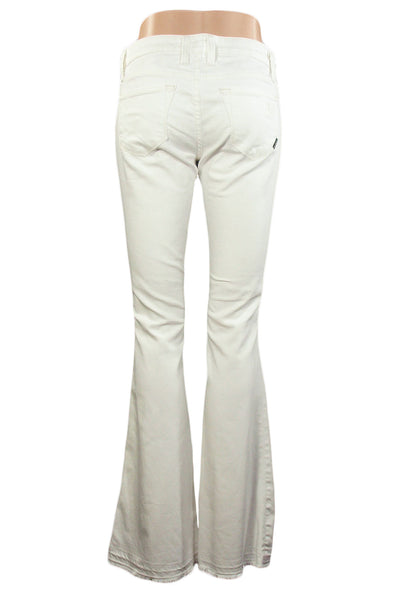 Work Custom Jeans White Denim Gidget Low-Rise Flare / Sz 26
