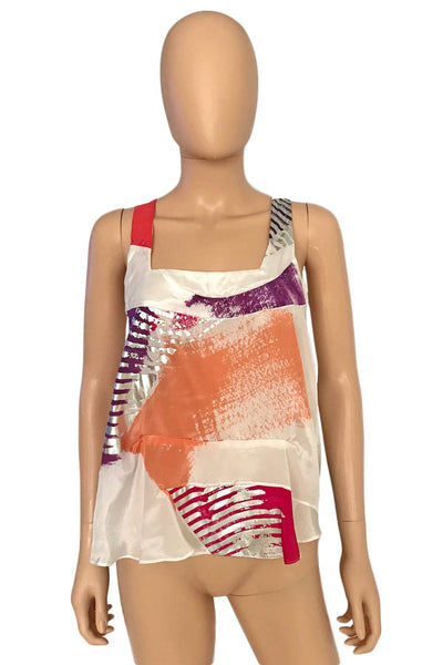 Chloe Abstract Print Sleeveless Silk Top +Painted Accents / Sz 36