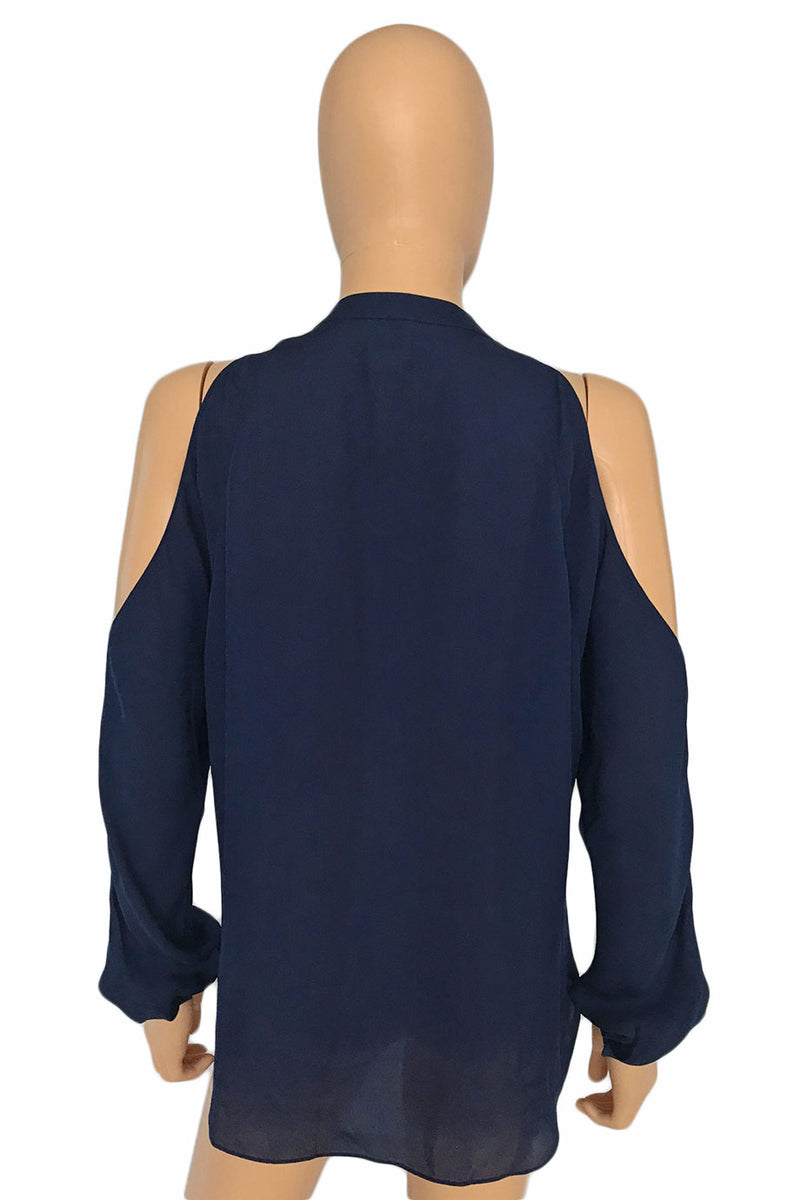Haute Hippie Lace Trim Navy Cold Shoulder Blouse / Sz S-Style Therapy
