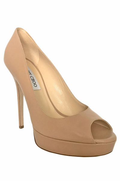 Jimmy Choo Nude Leather Crown Peep Toe Platform Pumps / Sz 39