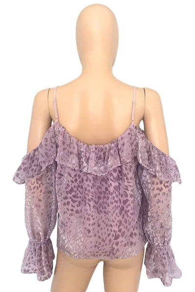 Parker Leopard Velvet Burnout Cold Shoulder Renzo Blouse / Sz S