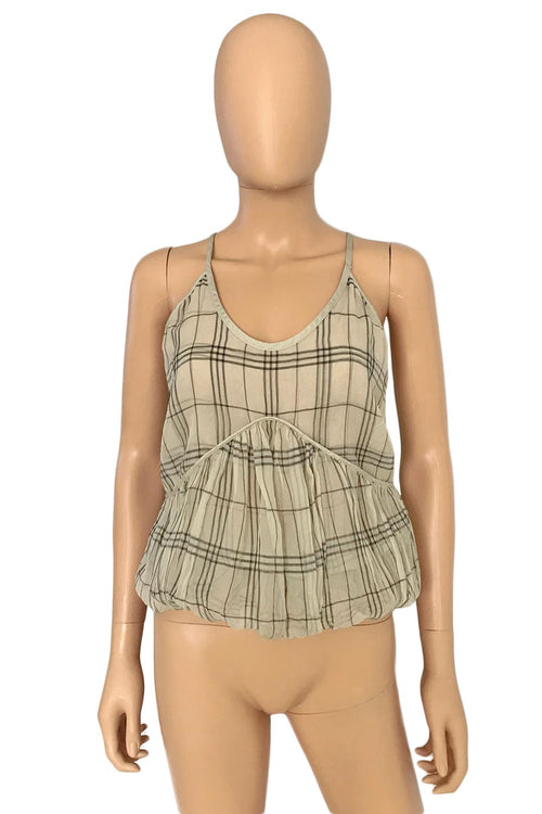 Stella McCartney Beige + Grey Check Print Bubble Hem Top / Sz 38