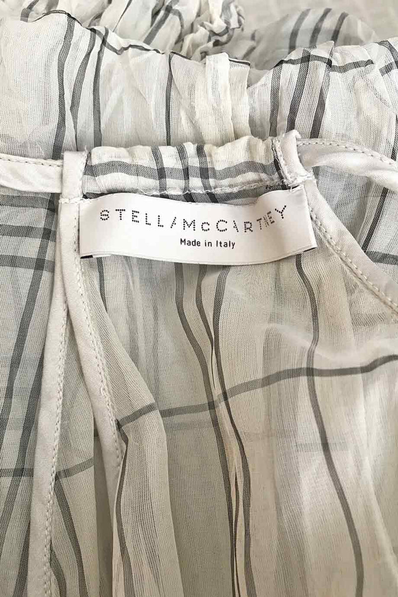 Stella McCartney Beige + Grey Check Print Bubble Hem Top / Sz 38-Style Therapy