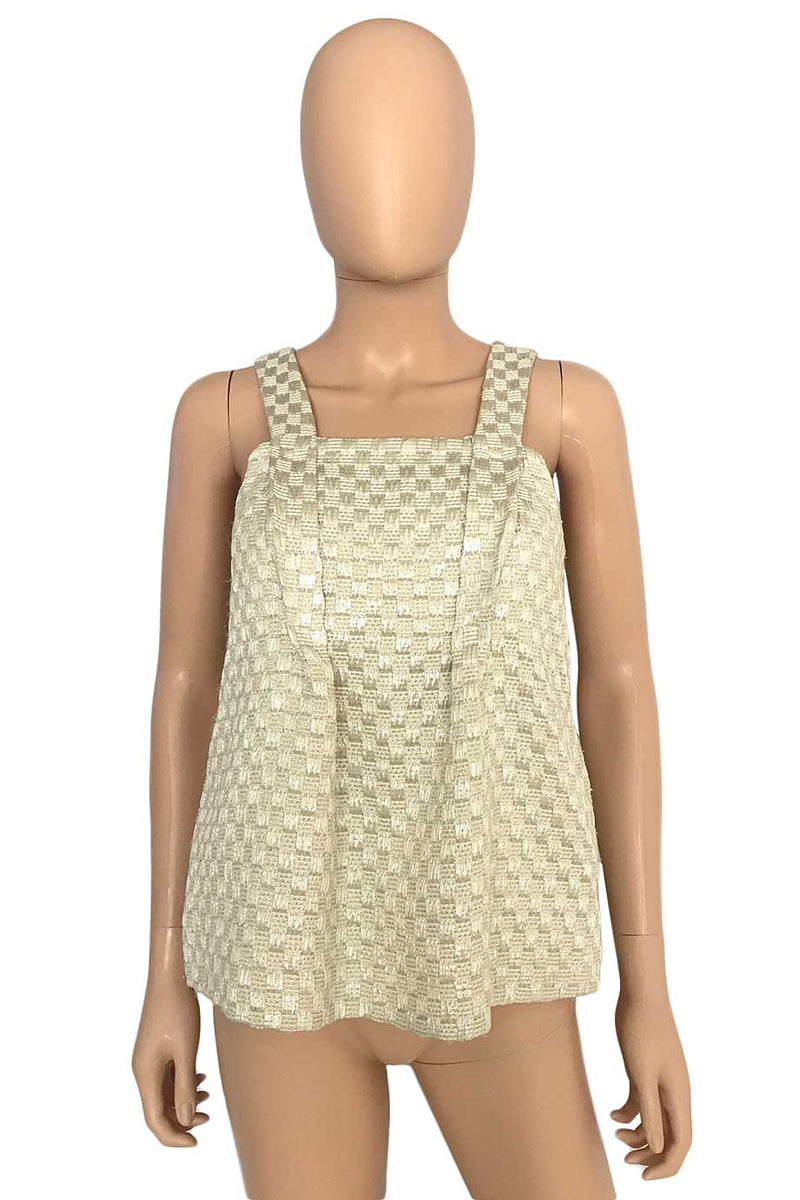 See by Chloe Ivory + Silver Basketweave Tank Top / Sz 2-Style Therapy